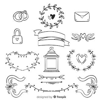 Zestaw ręcznie rysowane ozdoby ślubne