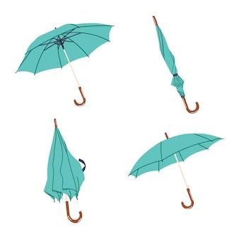 Zestaw ręcznie rysowane parasole wektor