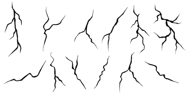 Zestaw ręcznie rysowane pęknięcia izolowany na białym tle. ilustracja wektorowa