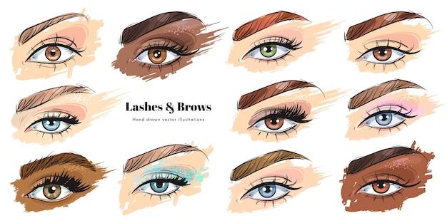Zestaw ręcznie rysowane piękne kobiece oczy