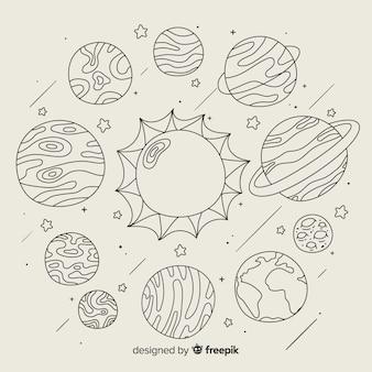 Zestaw ręcznie rysowane planety w stylu bazgroły
