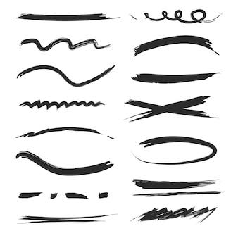 Zestaw ręcznie rysowane podkreślenia kresek. kolekcja czarnych pędzli i linii.
