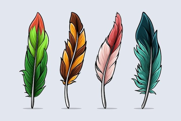 Zestaw ręcznie rysowane realistyczne i kolorowe ptasie pióra z cieniami i światłami na białym tle