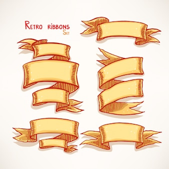 Zestaw ręcznie rysowane rocznika banery żółte wstążki