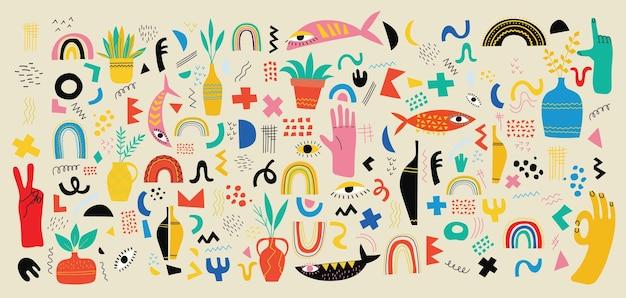 Zestaw ręcznie rysowane różne kolorowe kształty i tła obiektów doodle. streszczenie nowoczesne modne wektor ilustracja.
