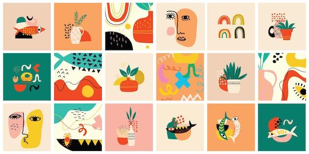Zestaw ręcznie rysowane różne kolorowe kształty i tła obiektów doodle. streszczenie współczesnej nowoczesnej modnej ilustracji wektorowych.