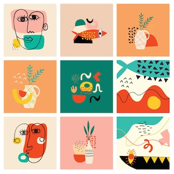 Zestaw ręcznie rysowane różne kształty twarzy i obiekty doodle abstrakcyjne współczesne nowoczesne wektory ilustr...