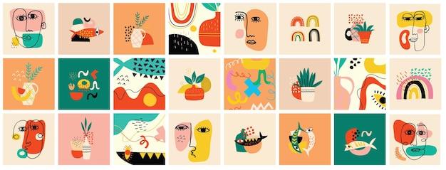 Zestaw ręcznie rysowane różne twarze, kształty i obiekty bazgroły. streszczenie współczesnej nowoczesnej ilustracji wektorowych.