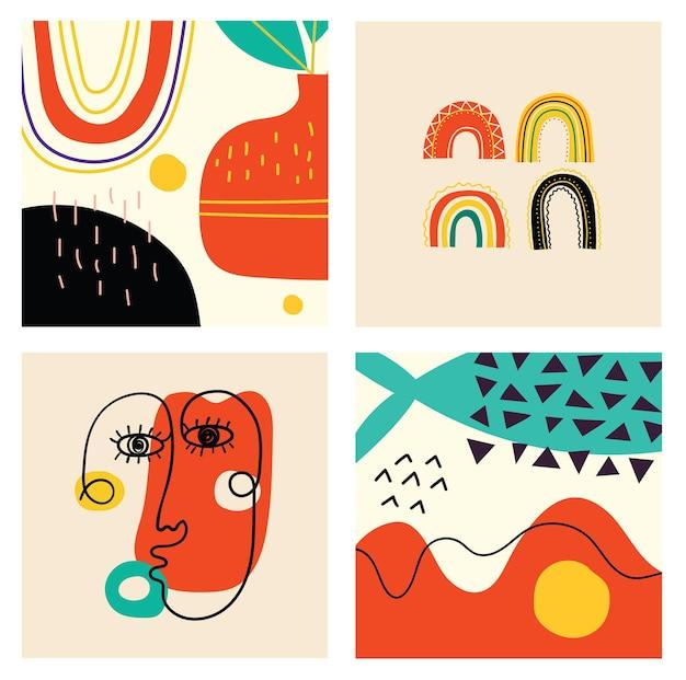 Zestaw ręcznie rysowane różne twarze, kształty i obiekty bazgroły. streszczenie współczesnej nowoczesnej modnej ilustracji wektorowych.