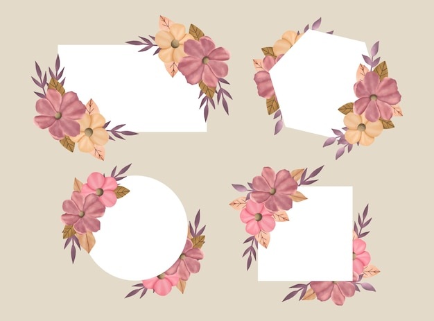 Zestaw ręcznie rysowane różowe kwiaty i ramka z bukietem liści