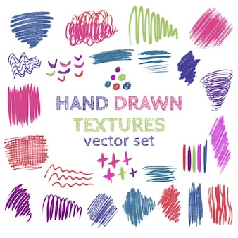 Zestaw ręcznie rysowane scribble tekstury kolekcja pędzla plam strokescolor