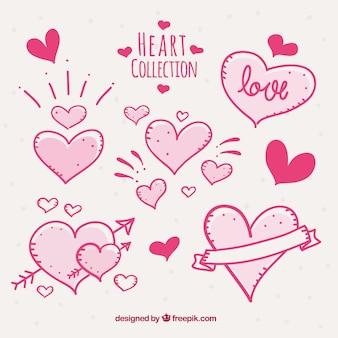 Zestaw ręcznie rysowane serca różowe