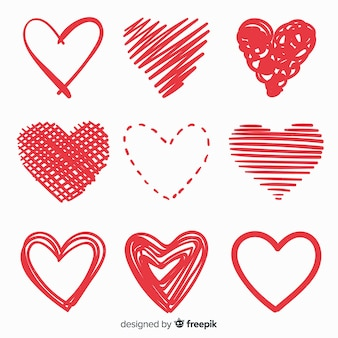 Zestaw ręcznie rysowane serca