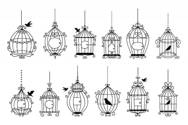 Zestaw ręcznie rysowane ślubne klatki dla ptaków