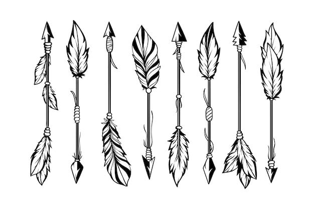 Zestaw ręcznie rysowane strzałki etniczne stylu boho