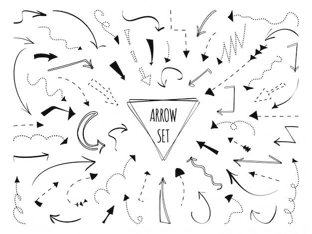 Zestaw ręcznie rysowane strzałki. kropkowana czarna linia. szkic punkt krzywej doodle znak w lewo, w prawo, w dół