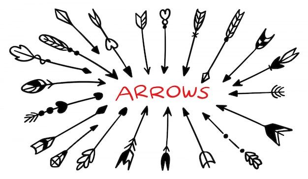 Zestaw ręcznie rysowane strzałki