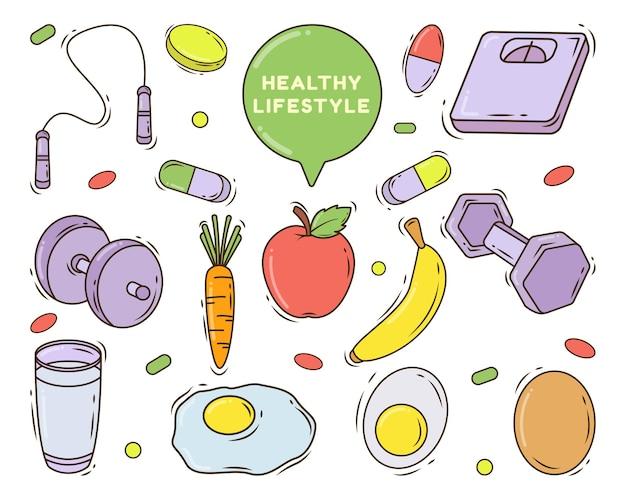 Zestaw ręcznie rysowane stylu doodle kreskówka zdrowego stylu życia