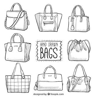 Zestaw ręcznie rysowane torby