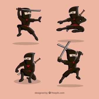 Zestaw ręcznie rysowane tradycyjny charakter ninja