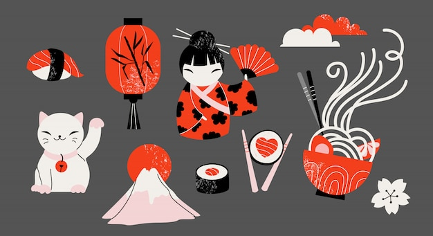 Zestaw ręcznie rysowane tradycyjnych japońskich ikon.