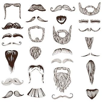 Zestaw ręcznie rysowane wąsy
