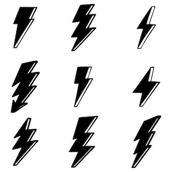 Zestaw ręcznie rysowane wektor doodle elektryczne błyskawica symbol szkic ilustracje. ilustracji wektorowych.