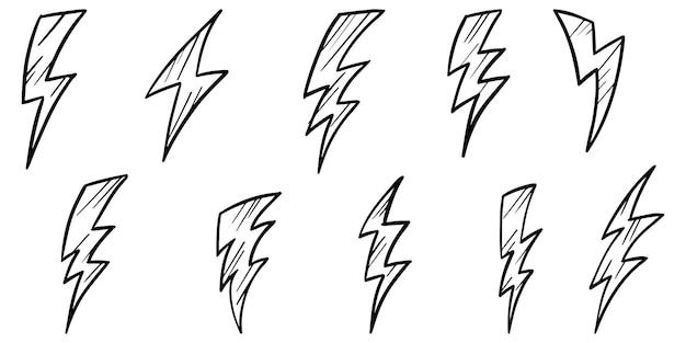 Zestaw ręcznie rysowane wektor doodle elektryczny symbol błyskawicy szkic ilustracje