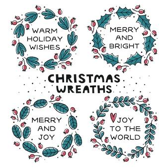 Zestaw ręcznie rysowane wieńce cristmas