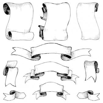 Zestaw ręcznie rysowane wstążki, banery i elementy