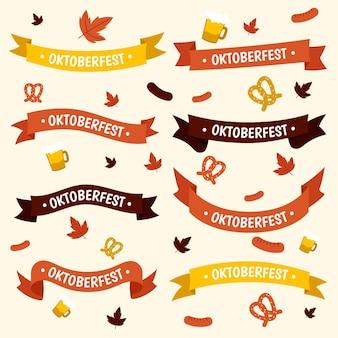 Zestaw ręcznie rysowane wstążki oktoberfest