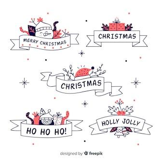 Zestaw ręcznie rysowane wstążki świąteczne