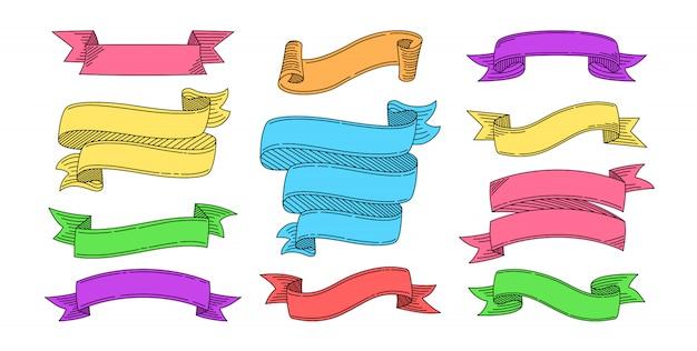 Zestaw ręcznie rysowane wstążki. zaprojektuj kolekcję szkiców wstążkami w różnych kolorach. taśma pusta na kartki okolicznościowe, banery grunge lub zaproszenia. zestaw ikon internetowych z taśmami tekstowymi. ilustracja na białym tle