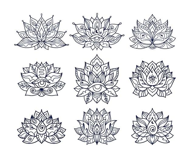 Zestaw ręcznie rysowane wzory tatuaży kwiat lotosu