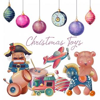Zestaw ręcznie rysowane zabawki świąteczne