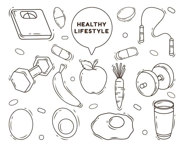 Zestaw ręcznie rysowane zdrowego stylu życia kreskówka doodle stylu kolorowania