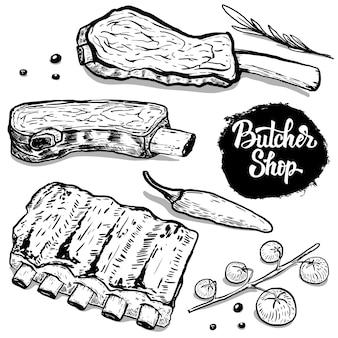Zestaw ręcznie rysowane żeberka wołowe z przyprawami. elementy plakatu, menu, ulotki. ilustracja