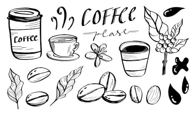 Zestaw ręcznie rysowanego cyfrowego szkicu kawy