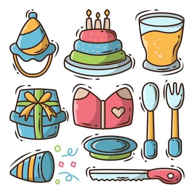 Zestaw ręcznie rysowanego sprzętu urodzinowego kreskówka doodle projektu