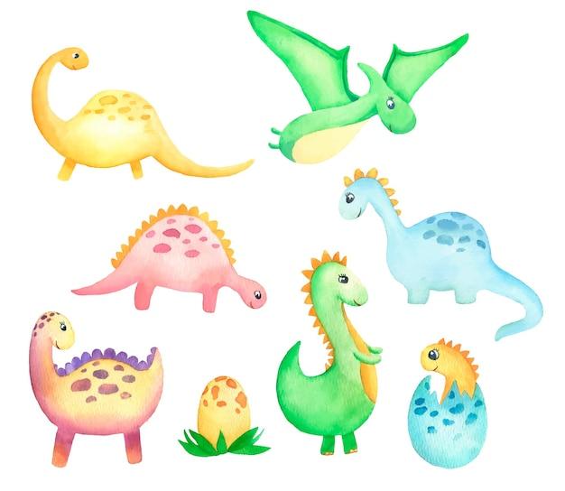 Zestaw ręcznie rysowanych akwarelowych dzieci dinozaurów