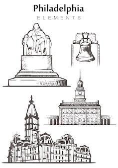 Zestaw ręcznie rysowanych budynków w filadelfii
