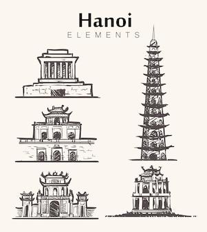 Zestaw ręcznie rysowanych budynków w hanoi