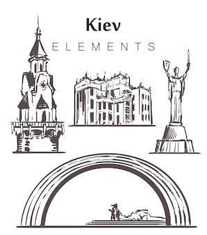 Zestaw ręcznie rysowanych budynków w kijowie