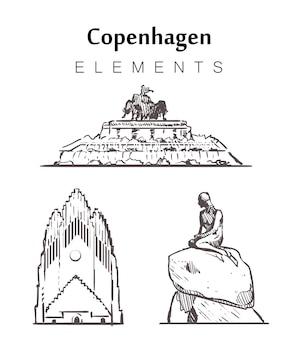 Zestaw ręcznie rysowanych budynków w kopenhadze