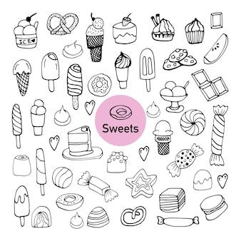 Zestaw ręcznie rysowanych elementów cukierków lub słodyczy do kart okolicznościowych, plakatów, naklejek i sezonowych projektów