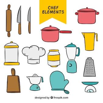 Zestaw ręcznie rysowanych elementów kuchni