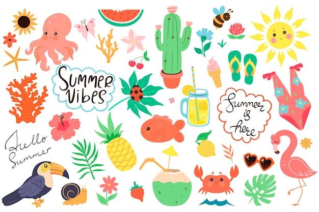 Zestaw ręcznie rysowanych elementów lato
