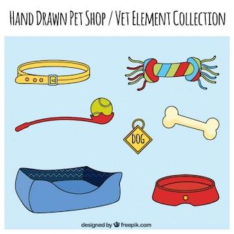 Zestaw ręcznie rysowanych elementów sklepu zoologicznego