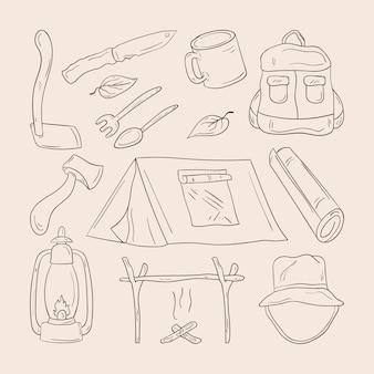 Zestaw ręcznie rysowanych kempingów