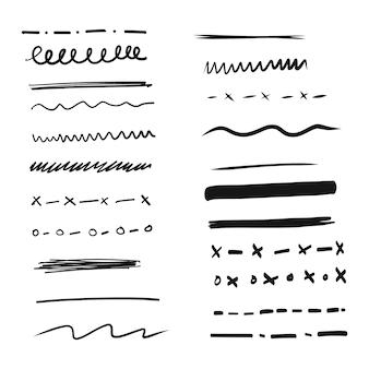Zestaw ręcznie rysowanych linii i przekładek